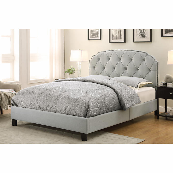 leawood queen upholstered bed in slate grey - Slate Bed Frame